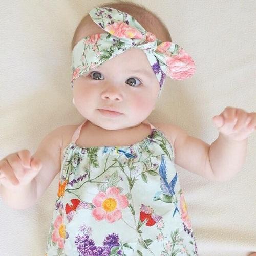 Cute Baby Girls Rhinestone Ribbon Rose Flower Headband Headwear Striking