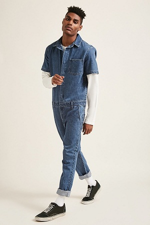 Stylish Blue Denim Male Rompers