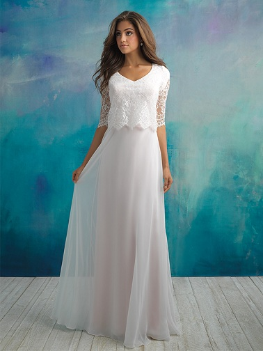 Top and Attached Skirt Wedding Dress