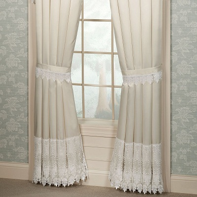 beige cotton handmade crochet curtains decoration woven openwork cloth pin cover bed european lace flowers