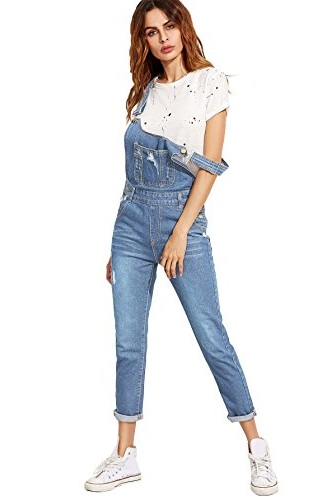 Verdusa Woman's Classic Denim Ripped Pocket Overall