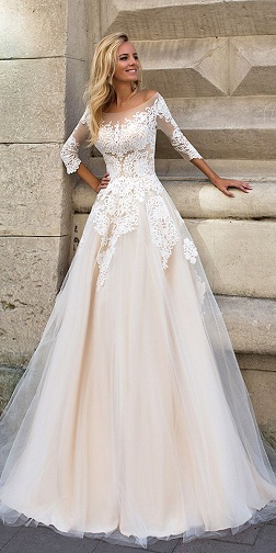 Wedding Dress with ¾ Sleeves