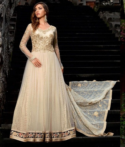 14baed4106 Check out this exquisite White Party wear Salwar suit to look like an  angel! This beautiful creation comes in a two-layered Anarkali model with  lace fabric ...