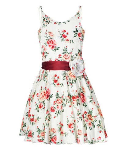 91ef1f98dac4fa This white printed frock for 13 years girl has shoulder straps. The bright  red flower print with green leaves is all over the dress making it very ...