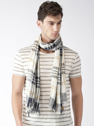 White and Navy Checked Scarf
