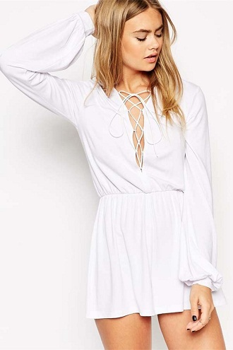 White Long Sleeves Casual Romper