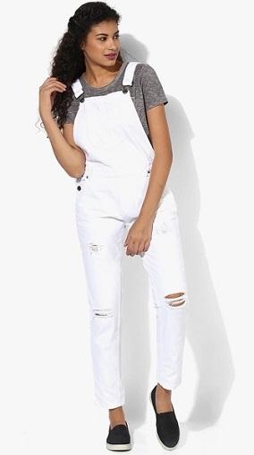 White Regular Fit Overalls