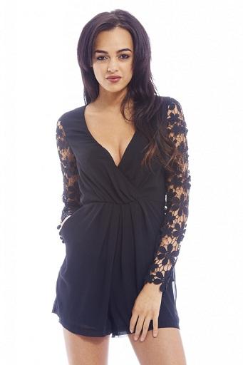 Women's Long Sleeve Black Romper