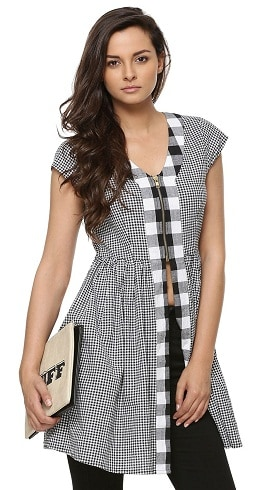 Women's Fashionable Checked Long Top