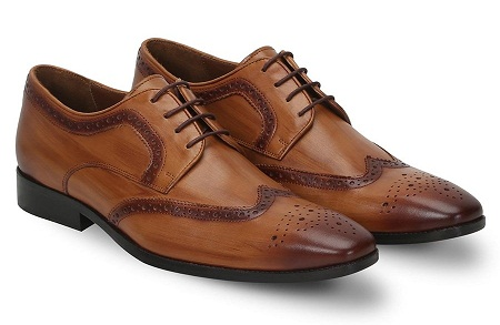 Wooden Look Burnished Tan Leather Shoes