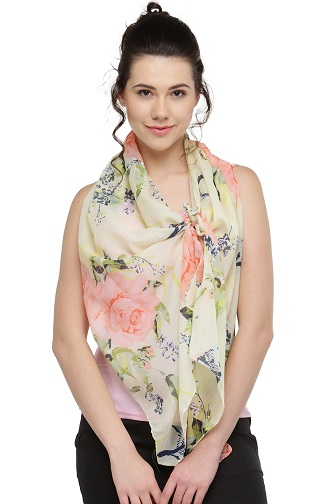 Yellow Floral Print Scarves