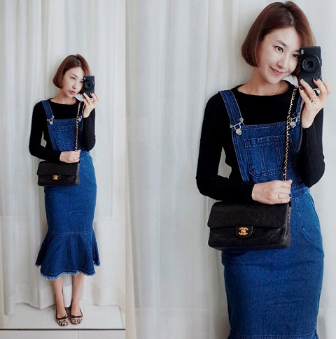 Yunting Woman's Adjustable Shoulder Strap Denim Overall Slim Fit Dress