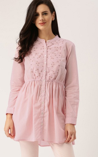 All About you from Deepika Padukone Pink Embroidered A-Line Kurti