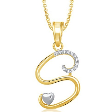 S Name Locket With Gold Chain