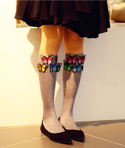 3D Butterfly Attached Knee Socks