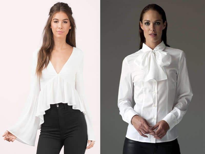 9 Different Neck Styles In White Blouses For Ladies