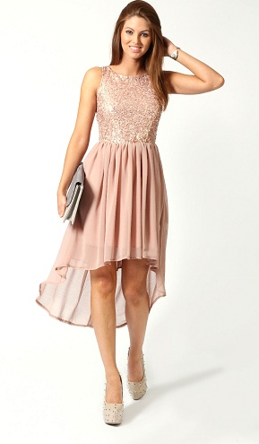 Asymmetric Peach Toned Birthday Dress
