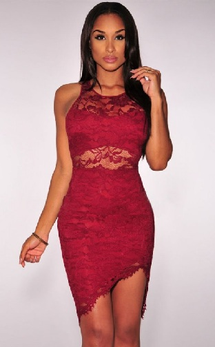 26e9e0015 This club party dress is having asymmetrical cut and it is having red lace  outlay. It is sleeveless with round neck design. Some portion of neck and  middle ...