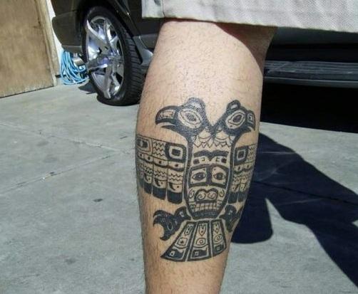 Aztec Bird Tattoo on Legs