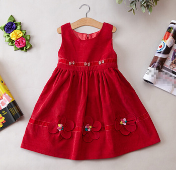 f0fb472e097 This is a very cute flower frock design for your little angel. It is a  simple design and designed with red flowers and small beautiful beads.