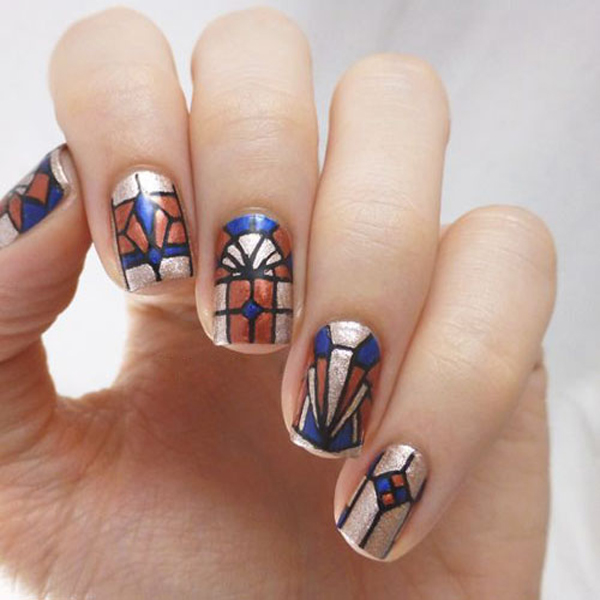 Stained Glass Nail Art Designs