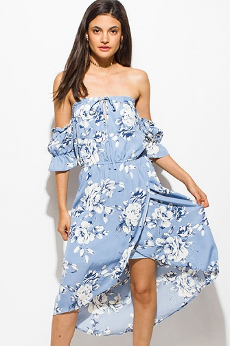 c3b2fadb649e1 Let us now look at this wonderful blue floral print beach summer dress.  This is an off-shoulder dress with a wrap-around at the waist.