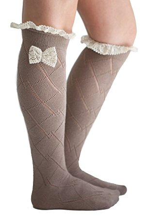79f2366a5 The sock is having triangle design and white lace frill is decorated on the  top. It is knee ...