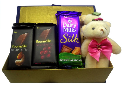 Chocolate With A Teddy Bear For Younger Sister