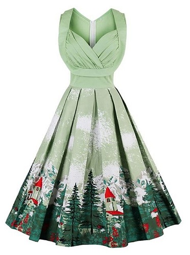 b17abac546aae Try this vintage dress design as your Christmas wear. This dress is a  Christmas themed dress and it comes with a vintage touch.