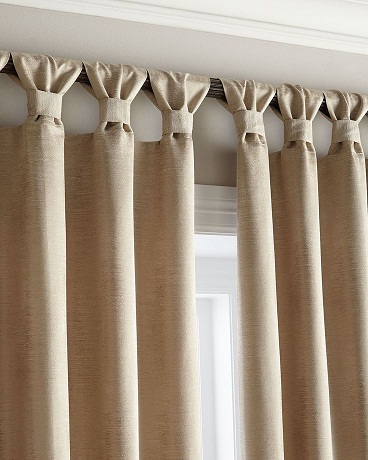 This Tab Top Window Curtain Is Having Creative Design The Tied Up With Same Fabric Whole Unadorned And Simple But Nice