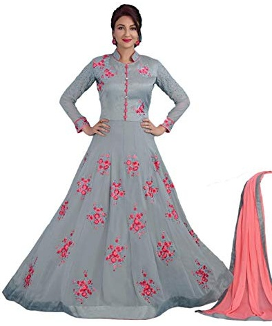 ad4400e03e Check out this stunning grey and pink designer semi-stitched salwar suit.  The soothing combination of these light colours make it an instant hit for  day ...