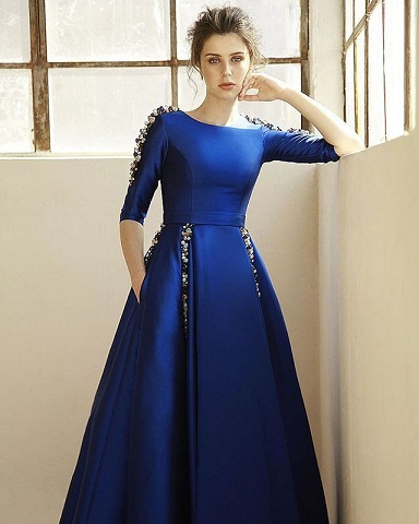 49c8f2b49fb8 This is a trendy blue long frock for women. This is an excellent party wear  and gives you a special elegance. This frock is beautifully designed with  beads.