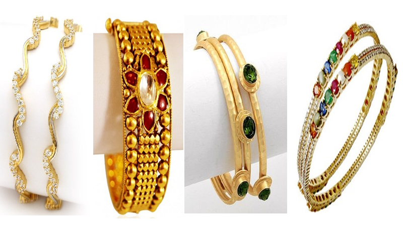 Gold Bangles with Stones
