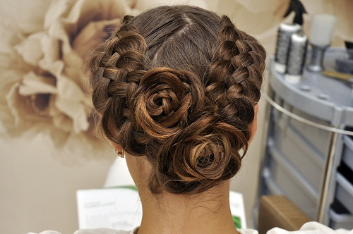 Two Sided Braiding with Twin Hair Flowers