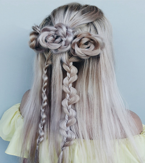 Multiple Flower Hair Braids