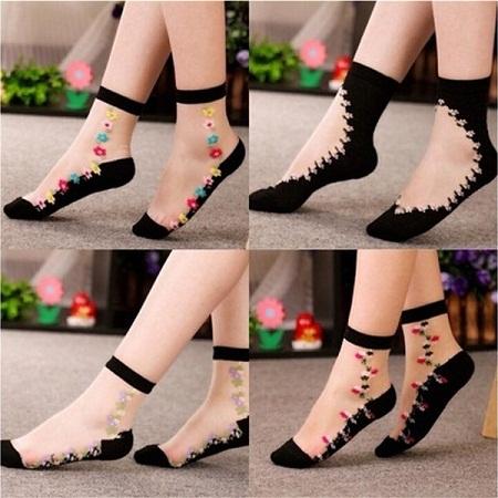 Flower Designed Socks Lining