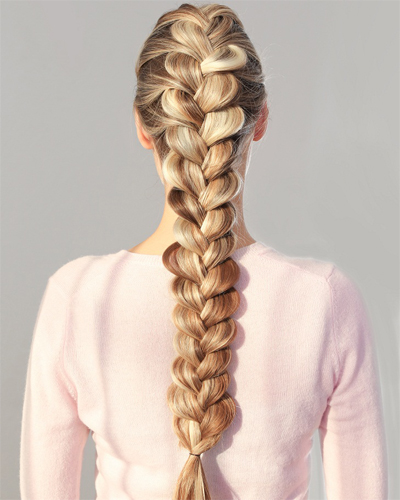Full Down French Braid Style