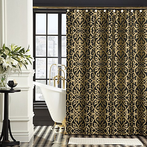 It Is Shower Black And Gold Curtain Which Used To Hide The Bath Area Simple Consists Of Pretty Golden Print On
