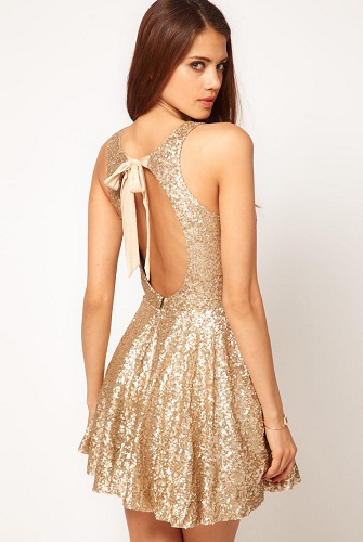 Golden Backless Birthday Dress