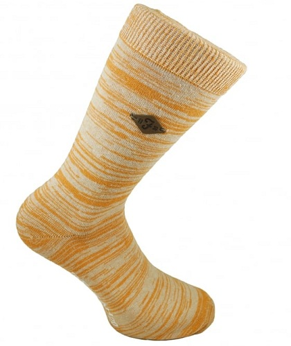 Golden Yellow and Ivory Patterned Mens Socks