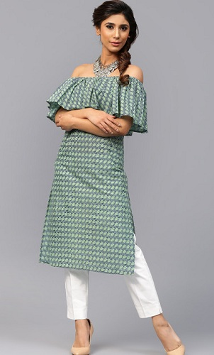 e2e07c5bada6 Here is a kurta with an off-shoulder neck style. The green kurta that is  made of cotton material has a cape style off shoulder neck line.