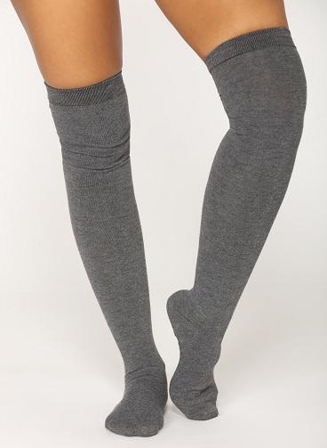 Grey Thigh High Socks