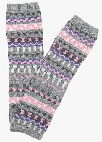 Grey and Pink Printed Socks