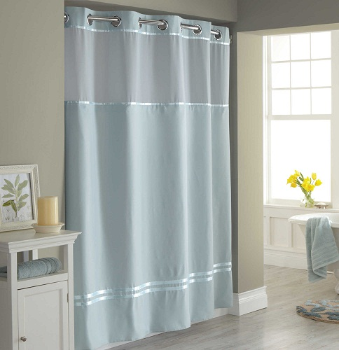 This Ingenious Ultra Modern Hookless Shower Curtain Offers A Hassle Free Split Ring Design With Built In Curved Rings Pop Right Over The Rod