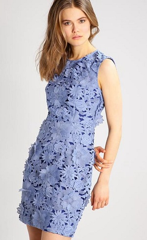 539c2c335b14 Summer dress which can be worn as a summer wedding dresses could be this  blue summer dress made from floral lace pattern with lining. The sleeveless  design ...