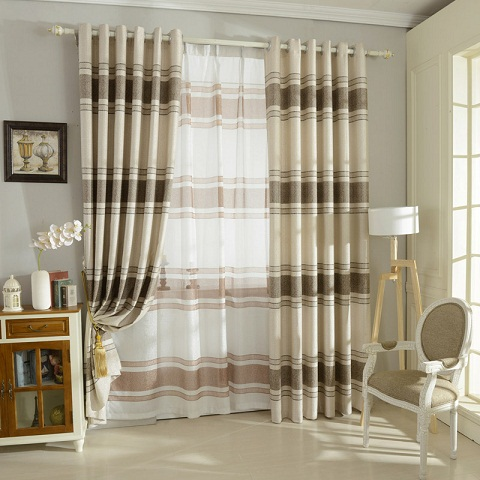 This Is Horizontal Striped Curtain In Linen Fabric Both Inside And Outside Are Having Stripe Design Two Way Style Awesome