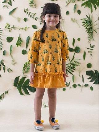 e862e4a66 Refresh your little one's wardrobe with this electrifying mustard and  green, animal print is woven drop waist frock. This dress has round neck,  long sleeves ...