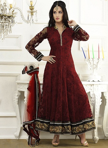 afa1ef54b3c0 This is a best Indian frock design for ladies. You can wear for parties and  other functions. It is made of embroidered net material.