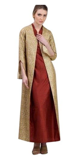 This Is An Exceptional Western Frock Coat For Women A Full Length Open Front In Golden Color It Very Modern Design With Excellent Style