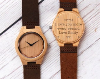 Monogram Wooden Watch Valentine's Gift